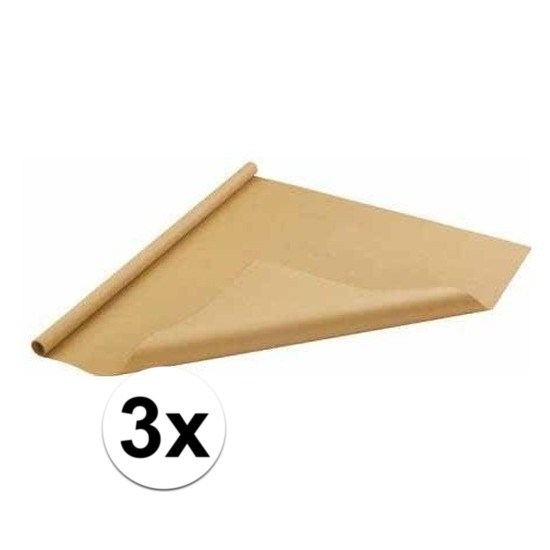 3x Bruin cadeaupapier 70 x 500 cm