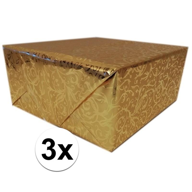 3x Cadeaupapier goud metallic met klassieke print 150 cm per rol