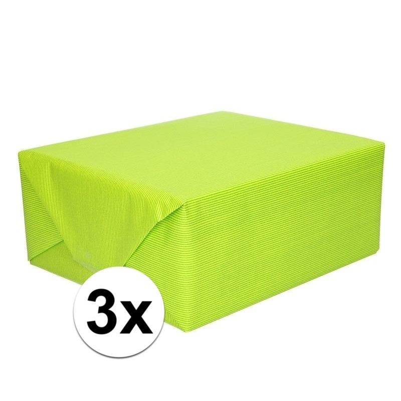3x Cadeaupapier lime groen 70 x 200 cm kraftpapier