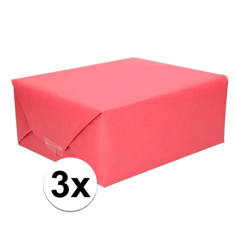 3x Cadeaupapier rood 70 x 200 cm kraftpapier