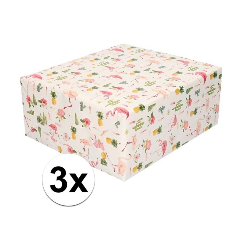 3x Cadeaupapier tropische print 200 cm per rol