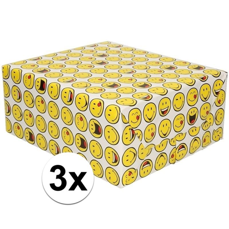 3x Cadeaupapier wit met funny faces 200 cm