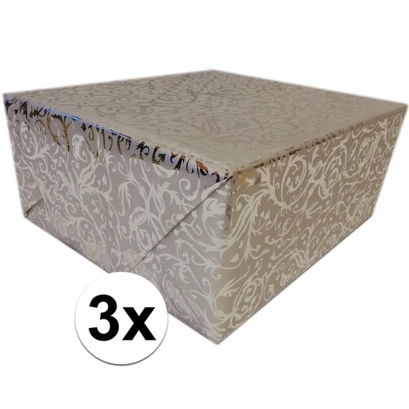 3x Cadeaupapier zilver metallic met klassieke print 150 cm per rol