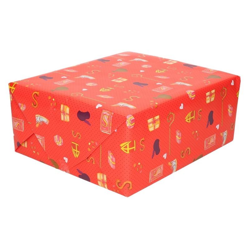 3x Inpakpapier/cadeaupapier Sinterklaas print rood