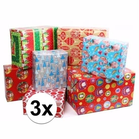 3x Kerstmis kadopapier/inpakpapier