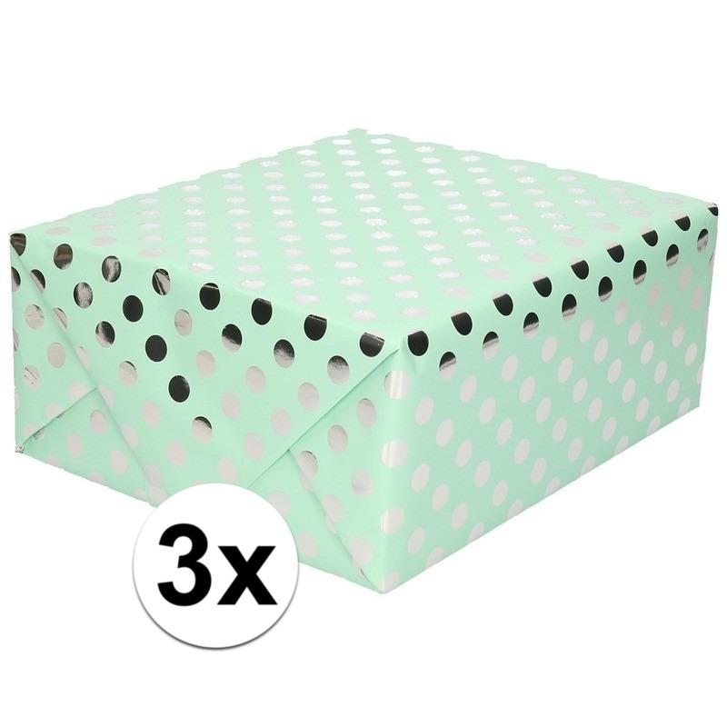 3x Mint groene folie geschenkpapier zilveren stip 200 x 70 cm