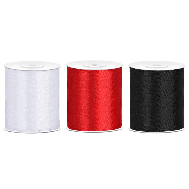 3x rollen hobby decoratie satijnlint zwart-wit-rood 10 cm x 25 meter