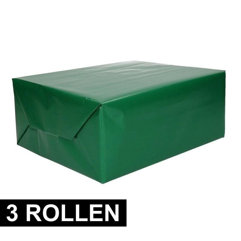 3x rollen Kadopapier groene 70 x 200 cm
