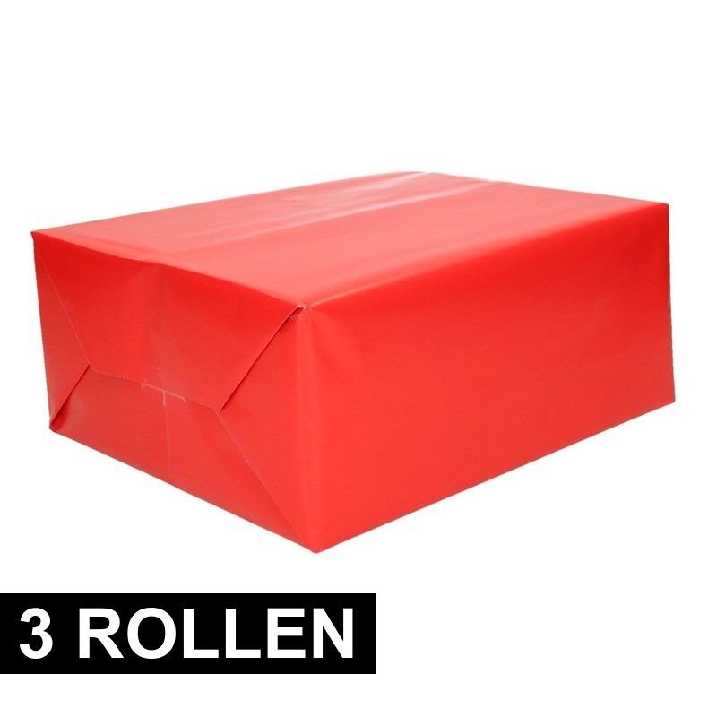 3x rollen Kadopapier rode 70 x 200 cm