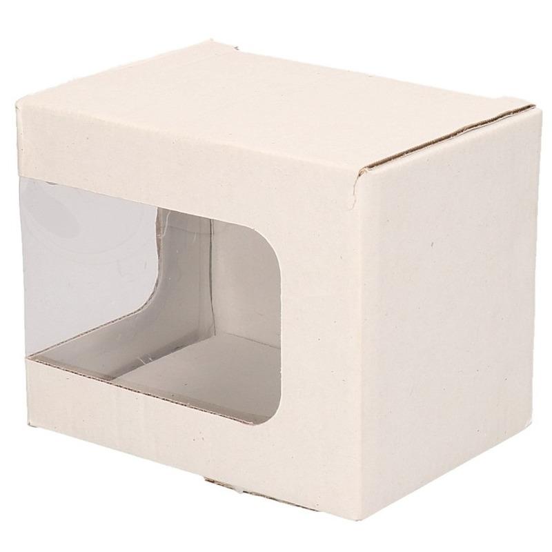 3x Wit cadeau doosje met venstertje en klep deksel