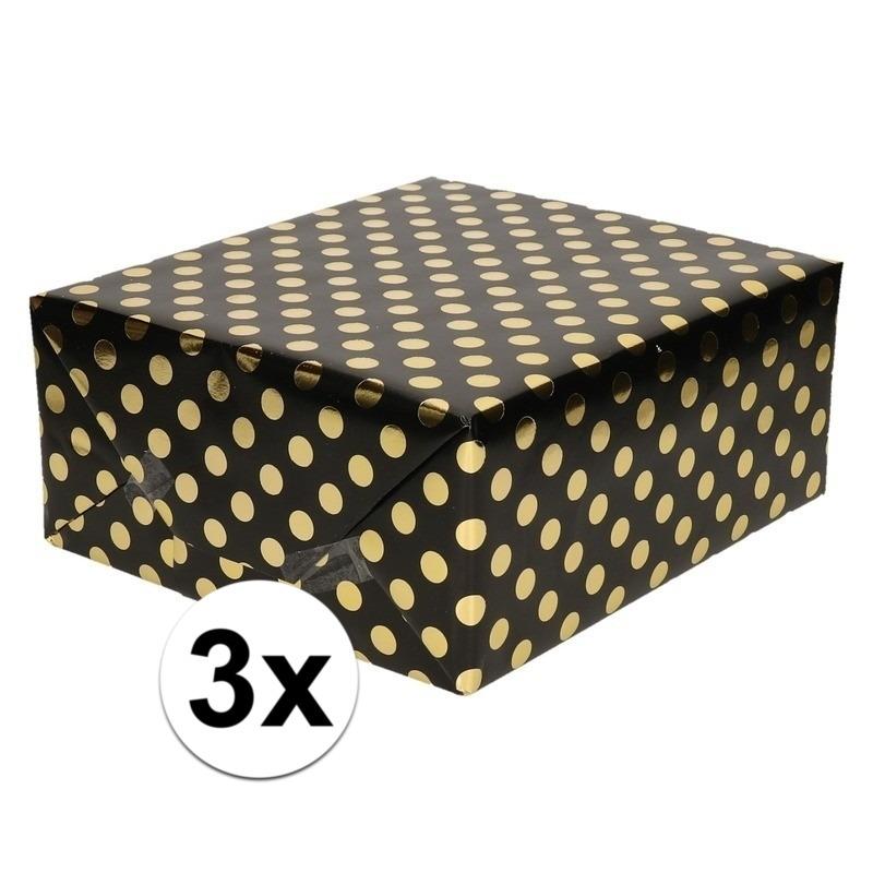 3x Zwart folie geschenkpapier gouden stip 200 x 70 cm