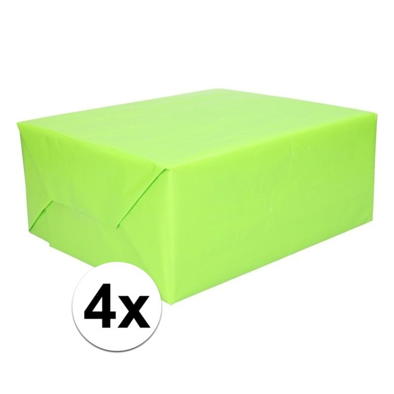 4x Cadeaupapier lime groen 200 cm