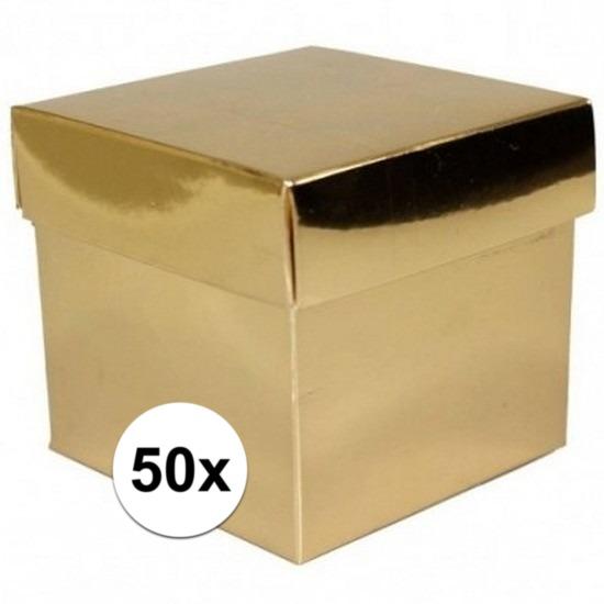 50x stuks gouden cadeaudoosjes/kadodoosjes 10 cm vierkant
