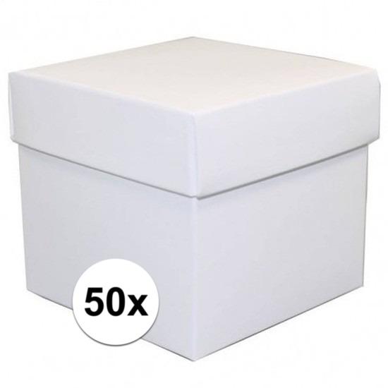 50x stuks witte cadeaudoosjes/kadodoosjes 10 cm vierkant