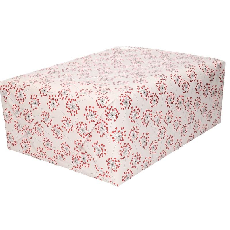 5x Cadeaupapier rode hartjes print 200 cm