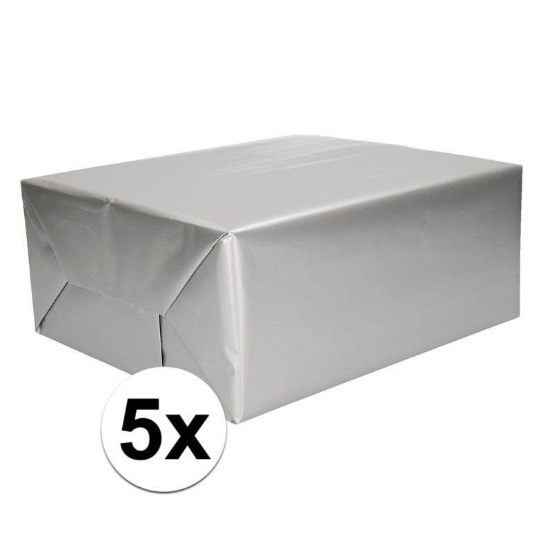 5x Kadopapier zilveren 70 x 200 cm