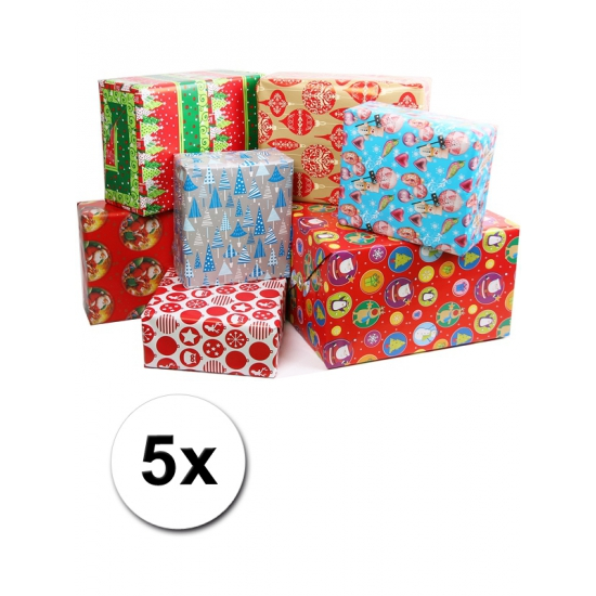 5x Kerstmis kadopapier 200x70 cm