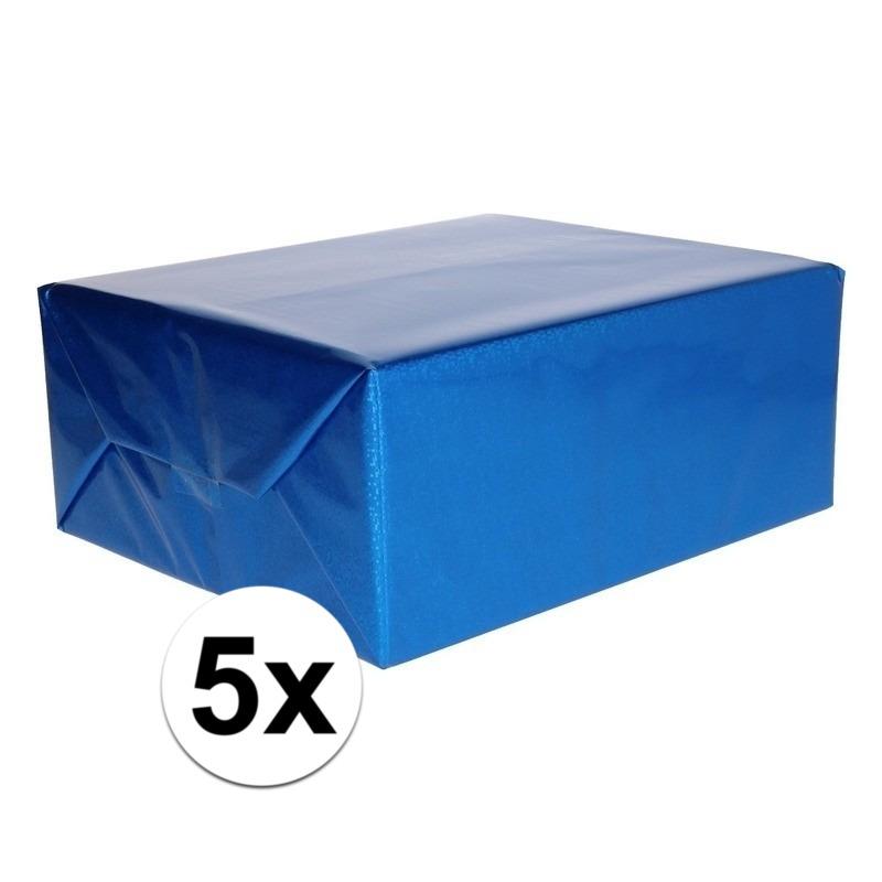 5x Metallic blauw cadeaupapier folie 70 x 150 cm