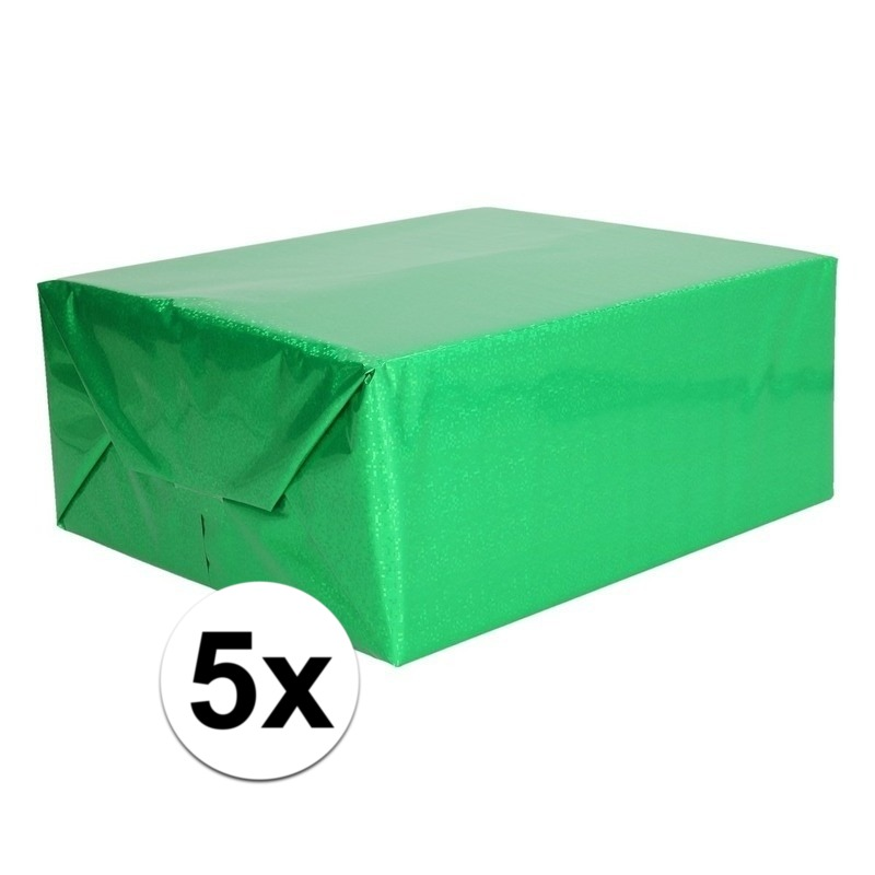 5x Metallic groen cadeaupapier folie 70 x 150 cm