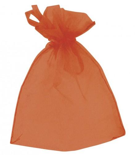 6 kleine oranje zakjes van organza