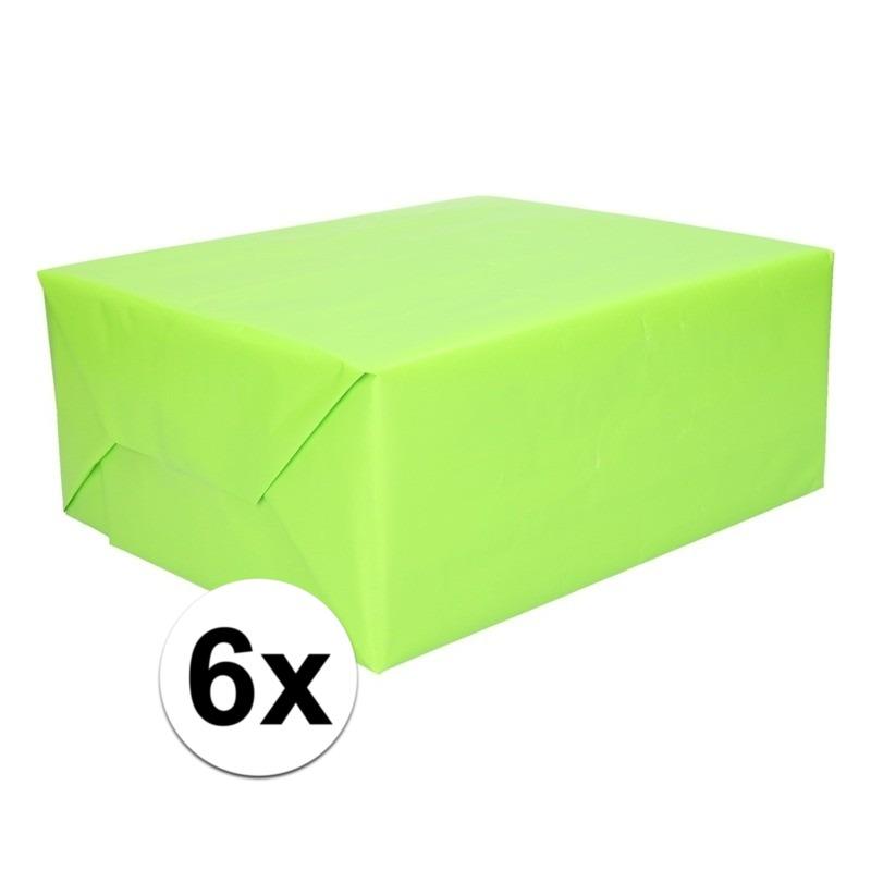 6x Cadeaupapier lime groen 200 cm