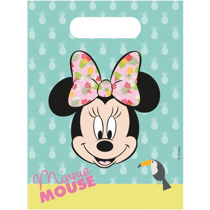 6x Disney Minnie Mouse uitdeelzakjes/snoepzakjes blauw 16 x 23 cm kinderverjaardag