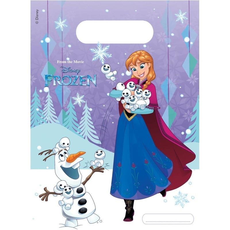 6x Frozen uitdeelzakjes/snoepzakjes blauw 16 x 23 cm Anna en Elsa kinderverjaardag