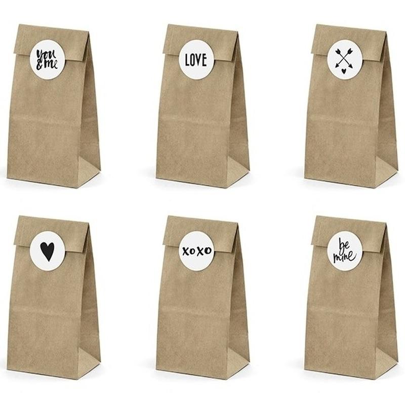 6x Papieren zakjes voor bruiloft bedankjes