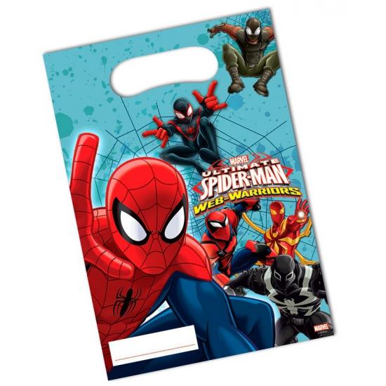 6x stuks Spiderman thema feestzakjes