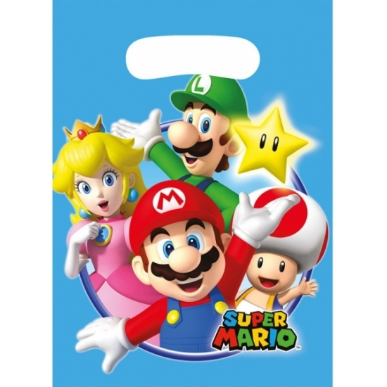 6x stuks Super Mario feestzakjes/snoepzakjes