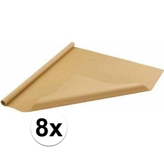 8x Bruin cadeaupapier 70 x 500 cm