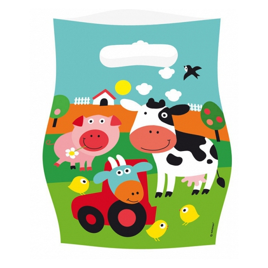 8x stuks Boerderij dieren cadeau zakjes