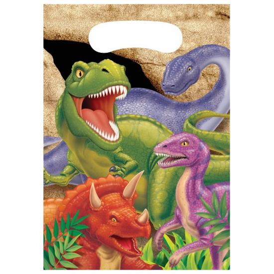 8x stuks Dinosaurus thema feestzakjes/cadeauzakjes 22 x 16 cm