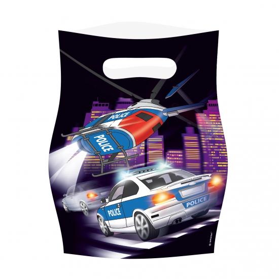 8x stuks Politie thema uitdeelzakjes/cadeauzakjes
