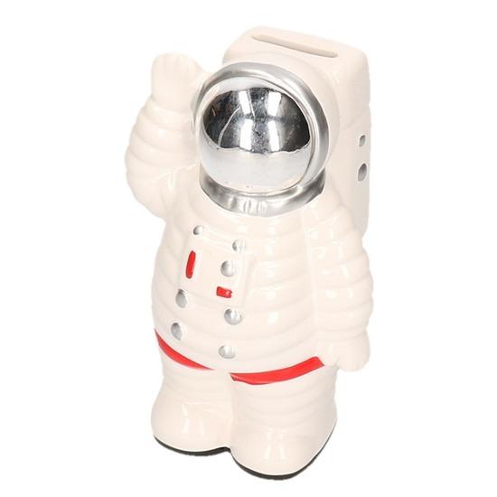 Astronaut spaarpot wit 18 cm