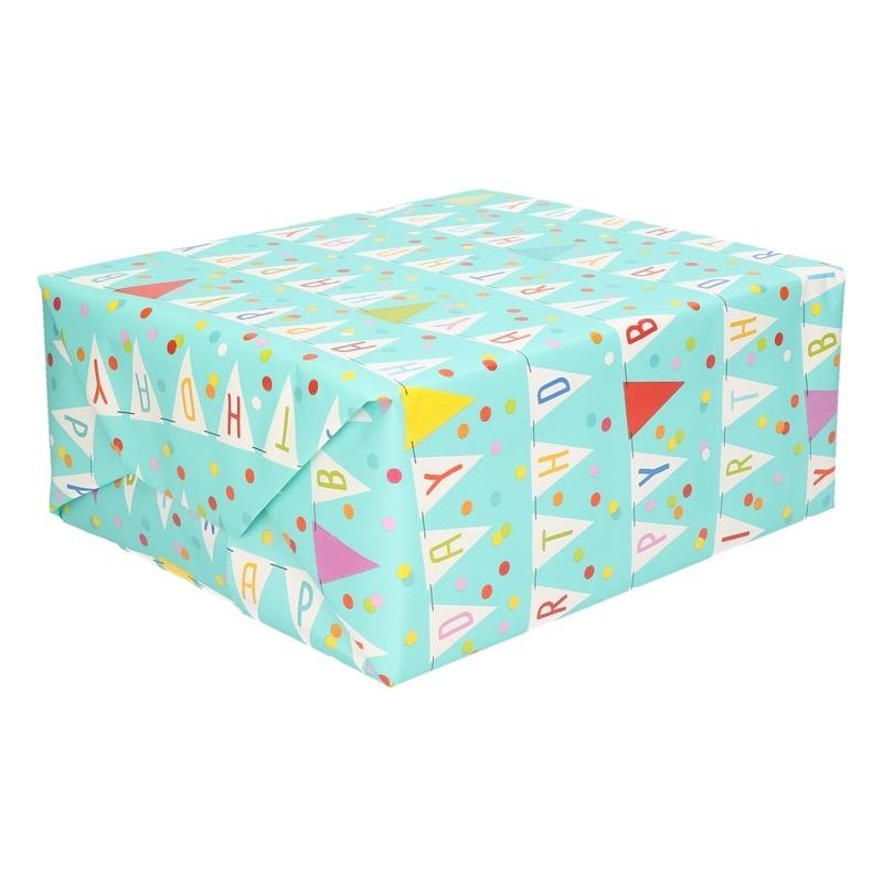 Blauw inpakpapier/cadeaupapier Happy Birthday 200 x 70 cm