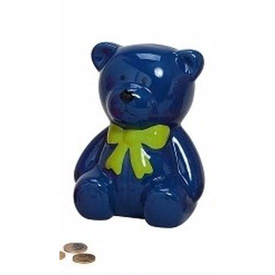 Blauwe teddybeer spaarpot 20 cm
