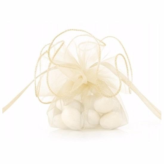 Luxe creme organza zakjes 26 cm. de creme kleur zakjes hebben een formaat van ongeveer 26 cm. leuk om ...