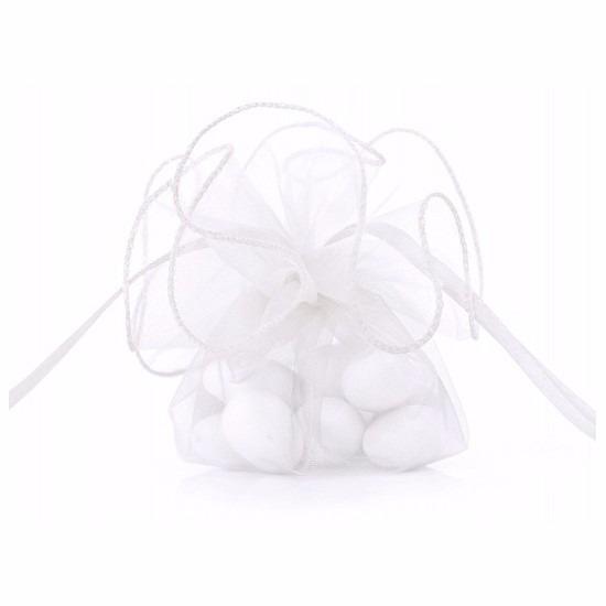 Luxe witte organza zakjes 26 cm. de witte zakjes hebben een formaat van ongeveer 26 cm. leuk om bijvoorbeeld ...