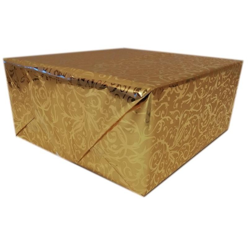 Cadeaupapier goud metallic met klassieke print 150 cm