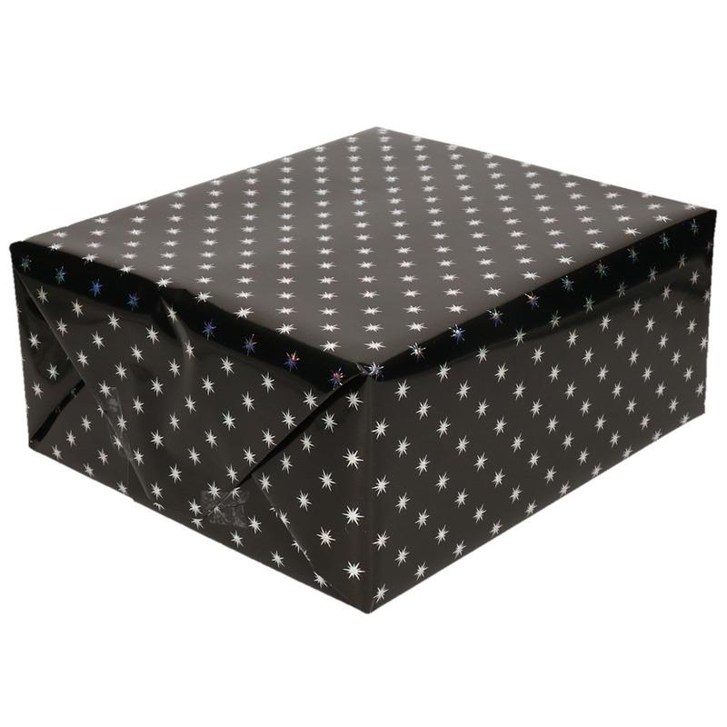 Cadeaupapier holografisch zwart met zilveren sterretjes print 150 cm