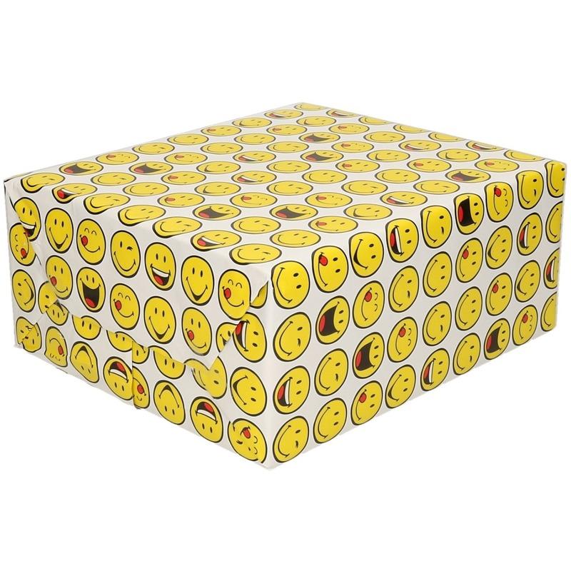 Cadeaupapier wit met funny faces 200 x 70 cm