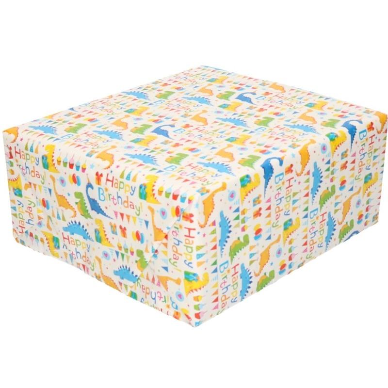 Cadeaupapier wit met Happy Birthday 200 x 70 cm