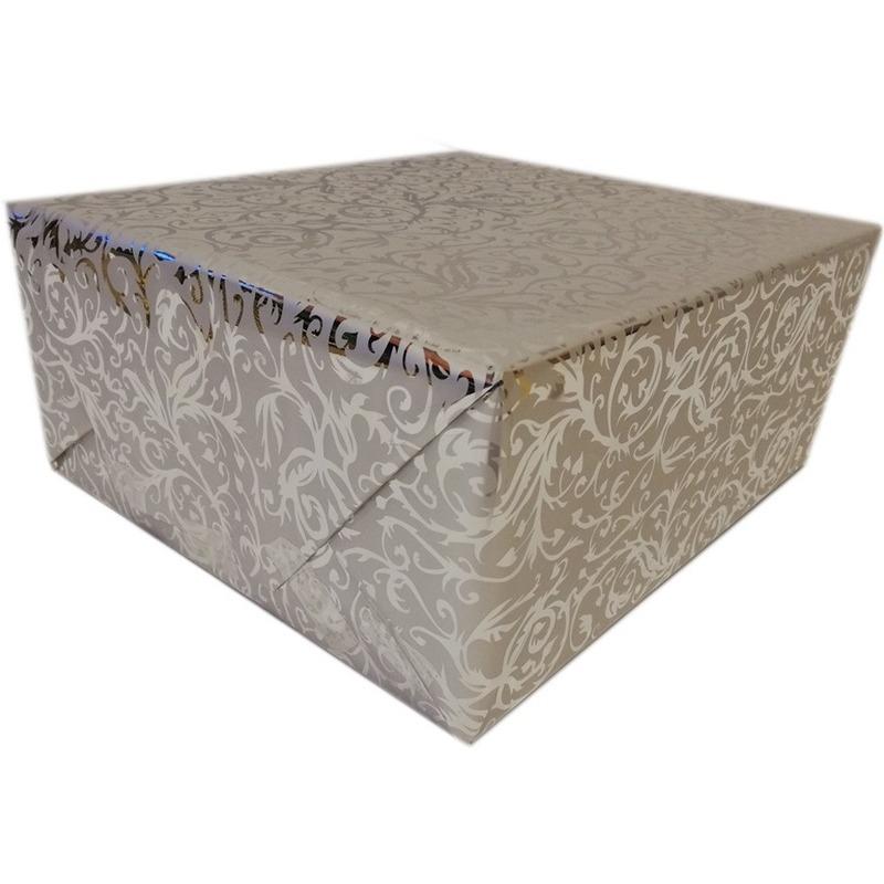 Cadeaupapier zilver metallic met klassieke print 150 x 70 cm