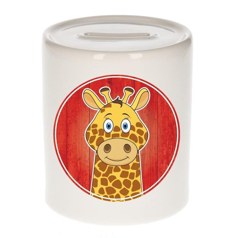Dieren spaarpot giraf voor kinderen 9 cm
