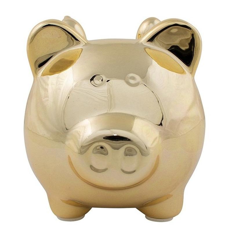 Dieren spaarpot goud varken/big voor kinderen/volwassenen 12 cm
