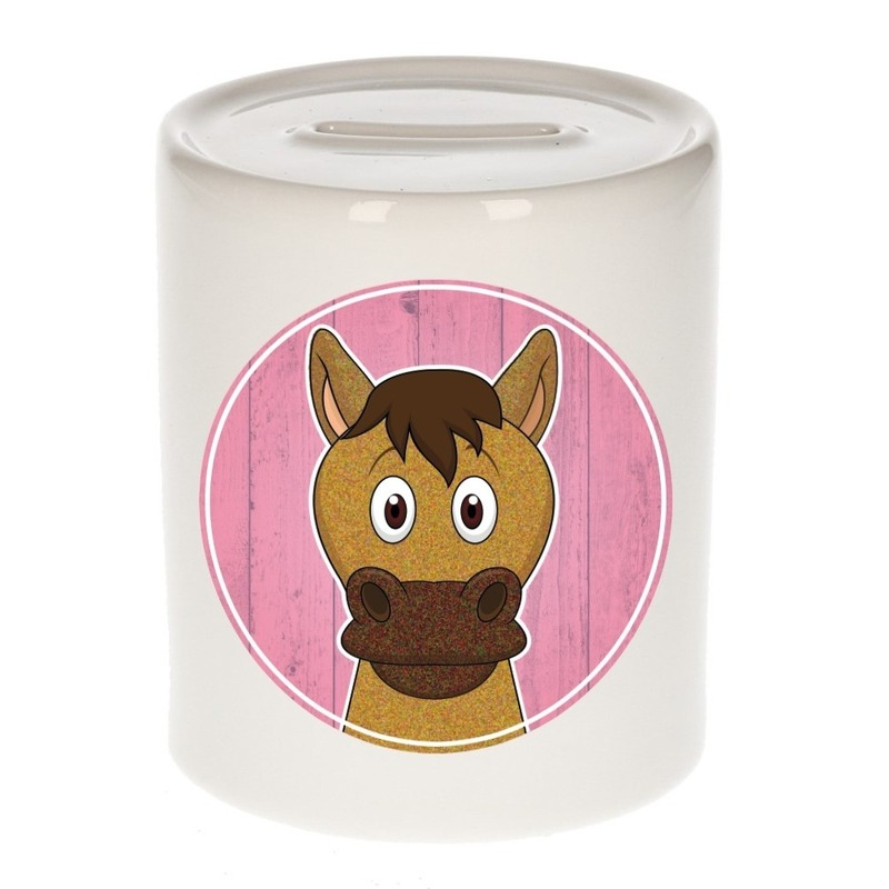 Dieren spaarpot paard voor kinderen 9 cm