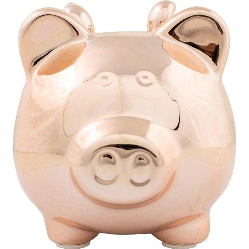 Dieren spaarpot rosegoud varken/big voor kinderen/volwassenen