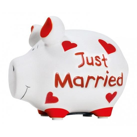 Dieren spaarpot varken/big Just Married 12 cm
