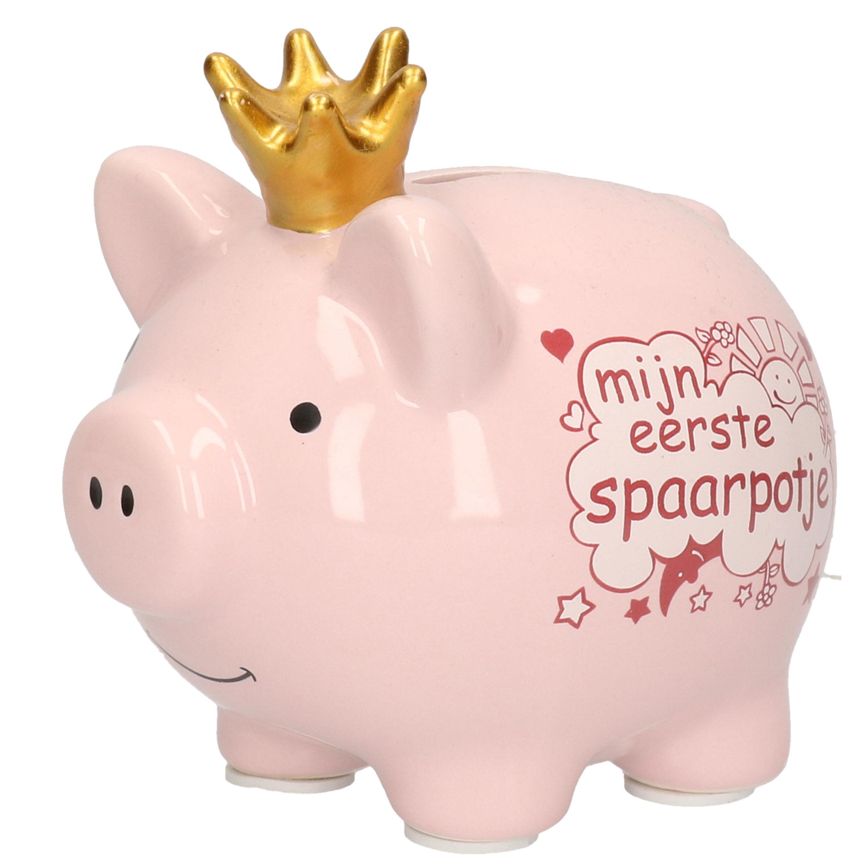 Dieren spaarpot varken/big roze mijn eerste spaarpotje12 cm meisje geboren